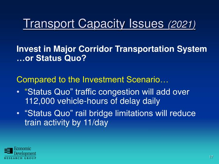 Invest in Major Corridor Transportation System