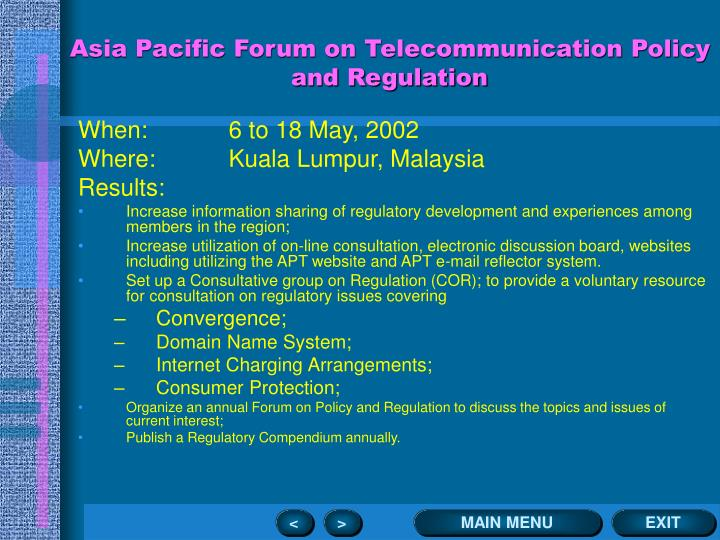 Asia Pacific Forum on Telecommunication Policy and Regulation