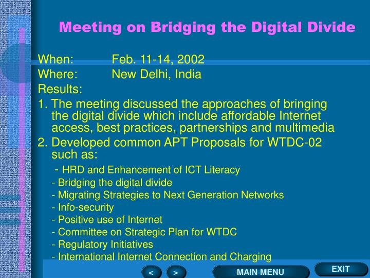 Meeting on Bridging the Digital Divide