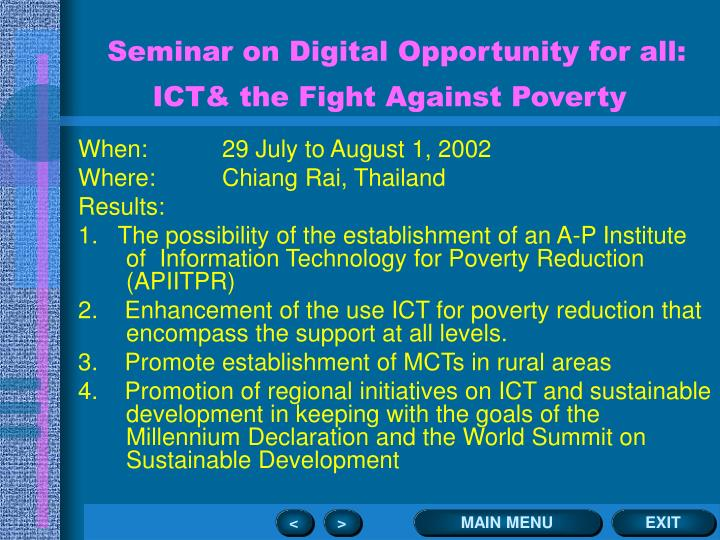 Seminar on Digital Opportunity for all: ICT& the Fight Against Poverty
