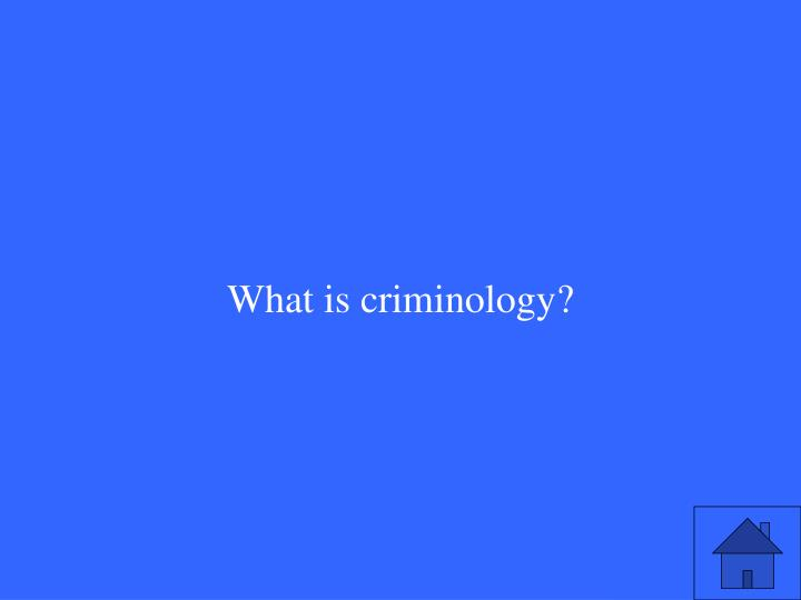What is criminology?
