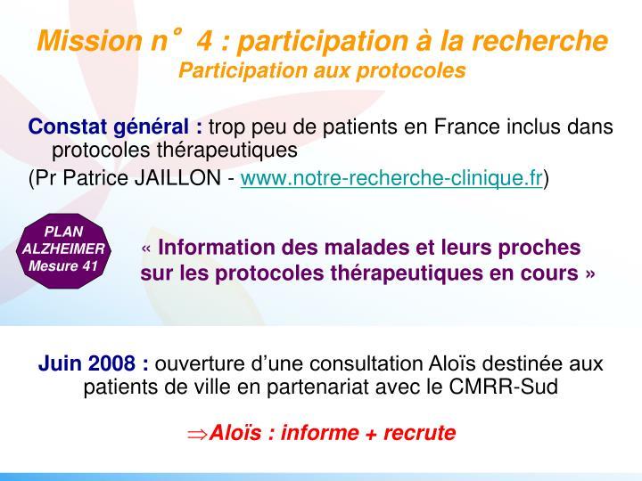 Mission n°4 : participation à la recherche