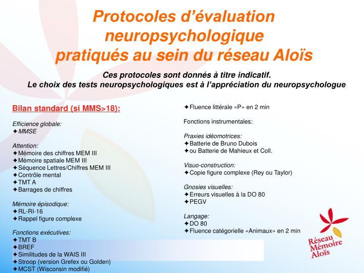 Protocoles d'évaluation neuropsychologique
