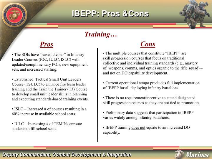 IBEPP: Pros &Cons