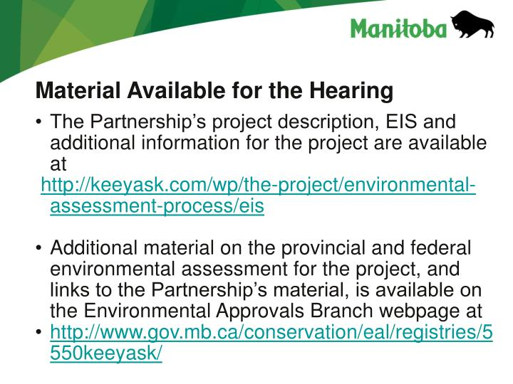 Material Available for the Hearing