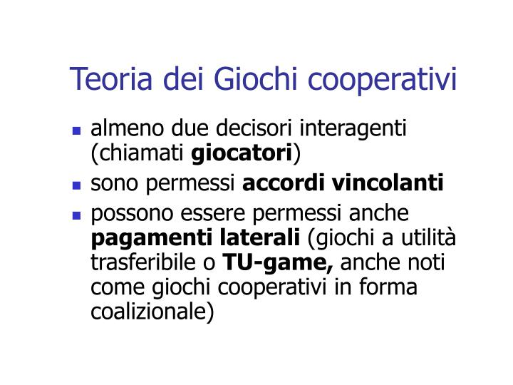 Teoria dei Giochi cooperativi