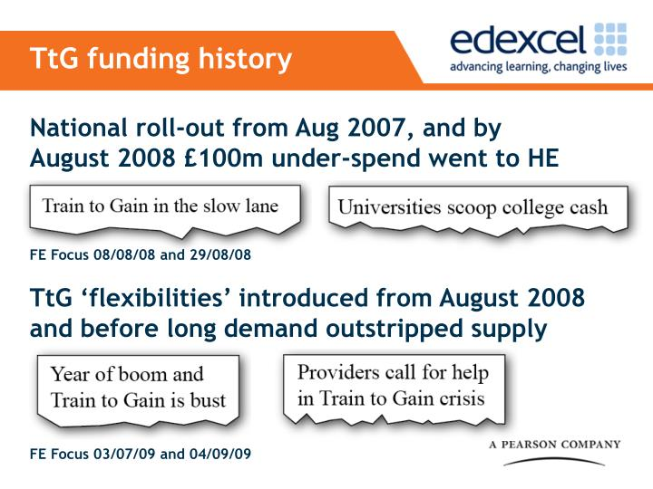 TtG funding history