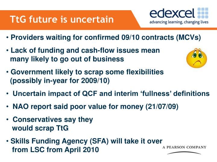 TtG future is uncertain