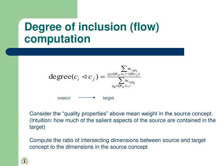 Degree of inclusion (flow) computation
