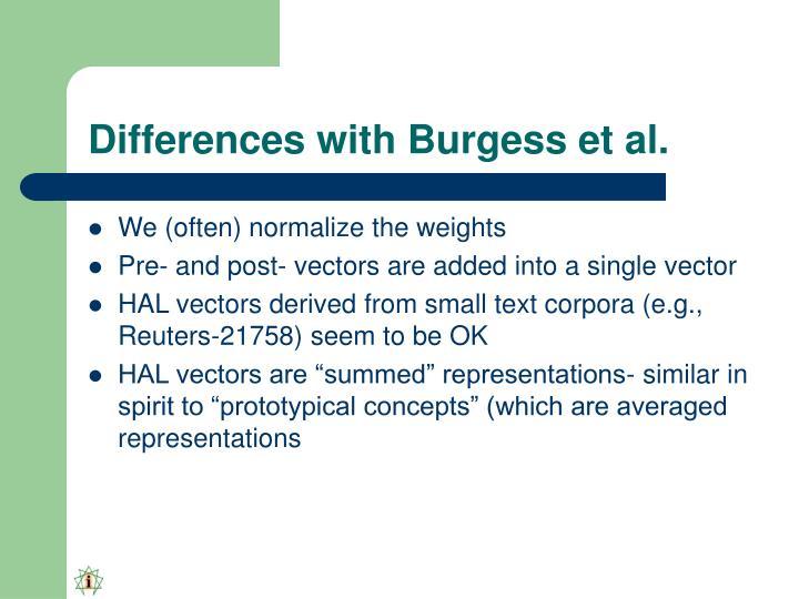 Differences with Burgess et al.