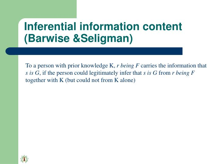 Inferential information content (Barwise &Seligman)