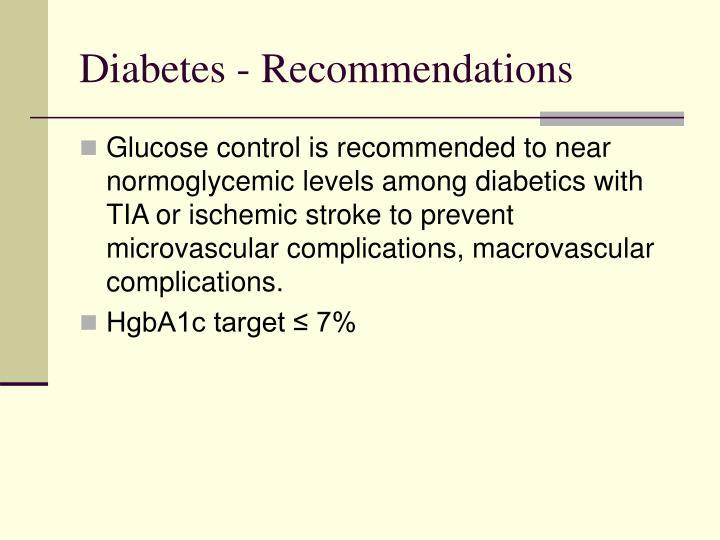 Diabetes - Recommendations