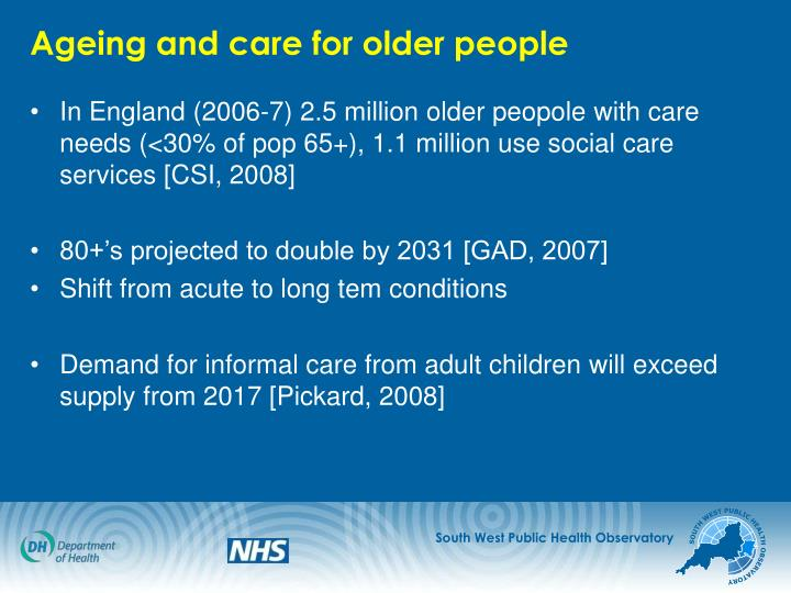 Ageing and care for older people