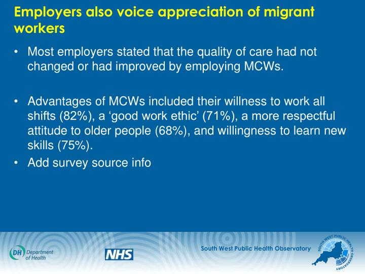 Employers also voice appreciation of migrant workers