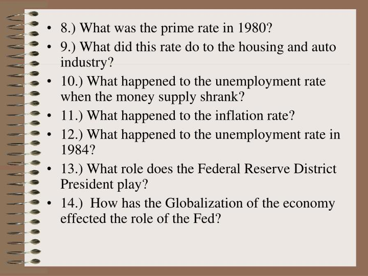 8.) What was the prime rate in 1980?