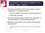 conclusion counterinsurgency is a losing lost game