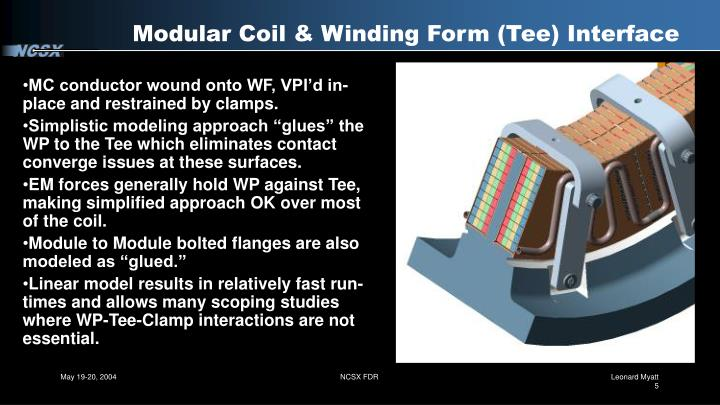 Modular Coil & Winding Form (Tee) Interface