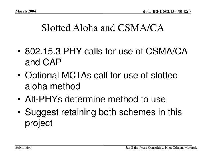 Slotted Aloha and CSMA/CA