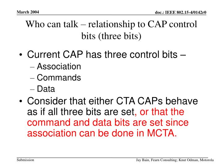 Who can talk – relationship to CAP control bits (three bits)