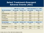 select treatment emergent adverse events aes