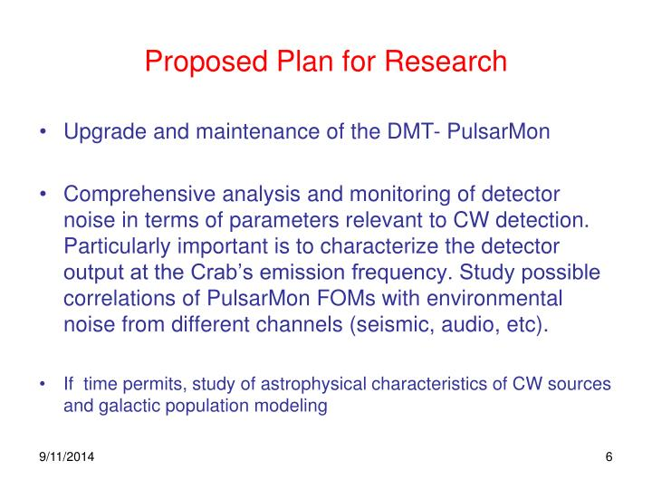 Proposed Plan for Research