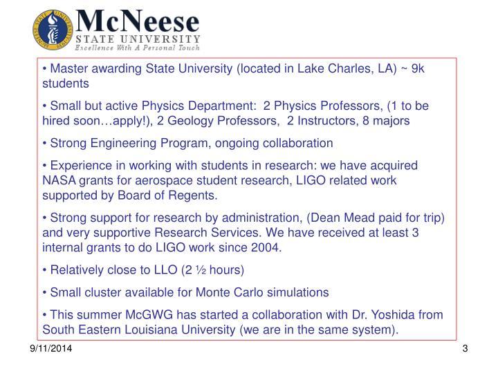 Master awarding State University (located in Lake Charles, LA) ~ 9k students