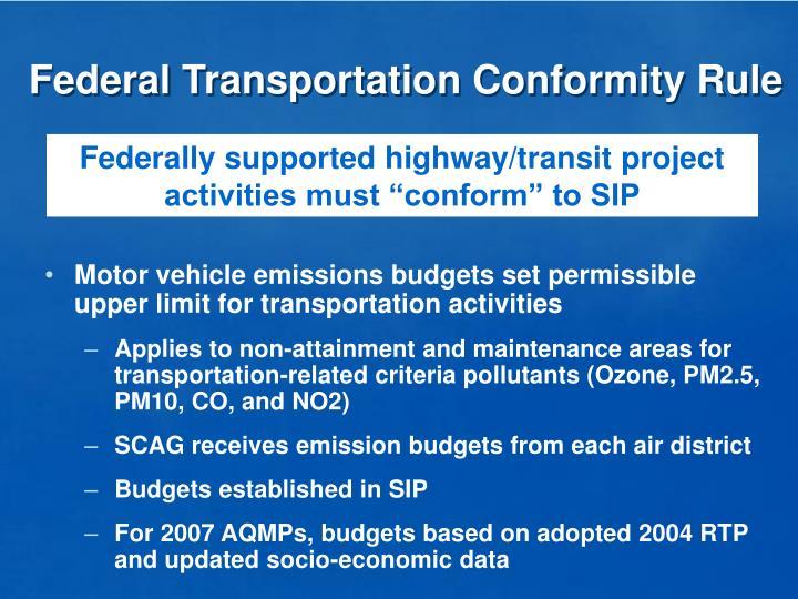 Federal Transportation Conformity Rule