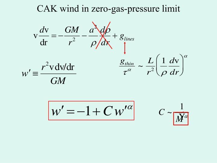 CAK wind in zero-gas-pressure limit