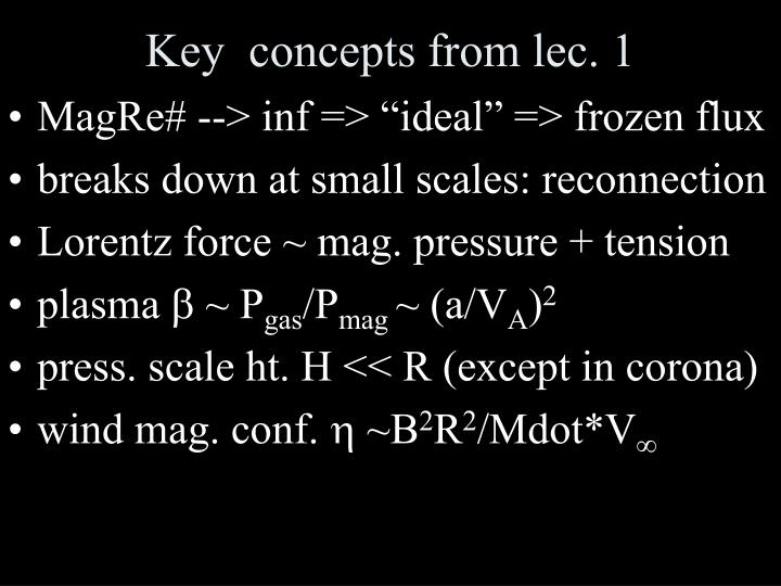 Key  concepts from lec. 1