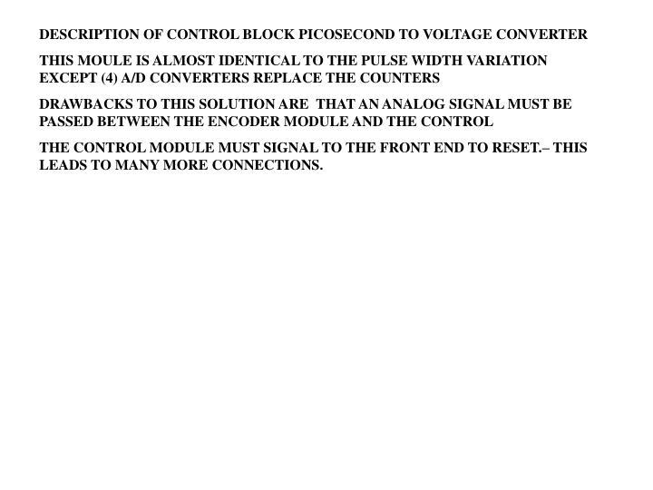 DESCRIPTION OF CONTROL BLOCK PICOSECOND TO VOLTAGE CONVERTER