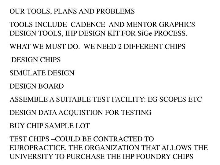 OUR TOOLS, PLANS AND PROBLEMS