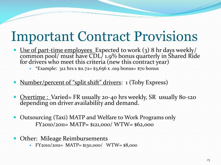 Important Contract Provisions