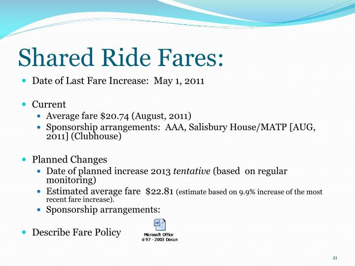 Shared Ride Fares: