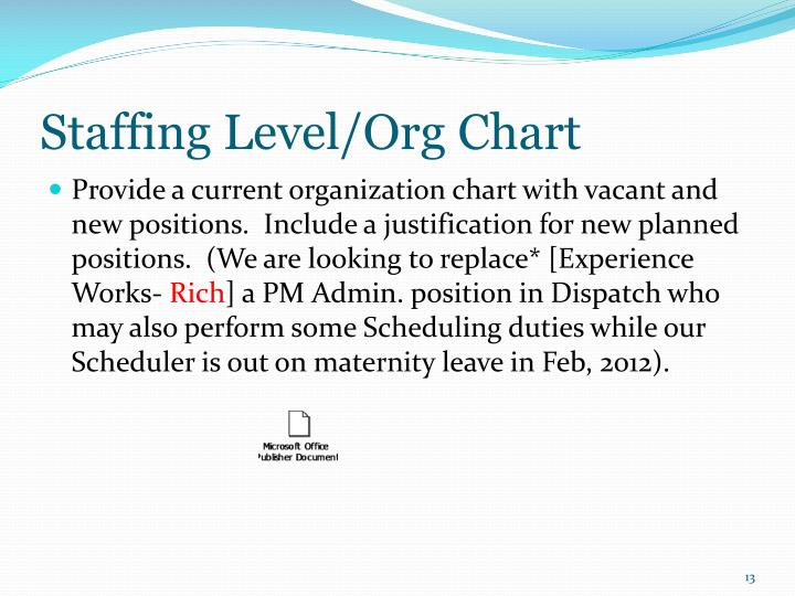 Staffing Level/Org Chart