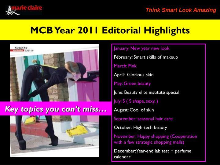 MCB Year 2011 Editorial Highlights