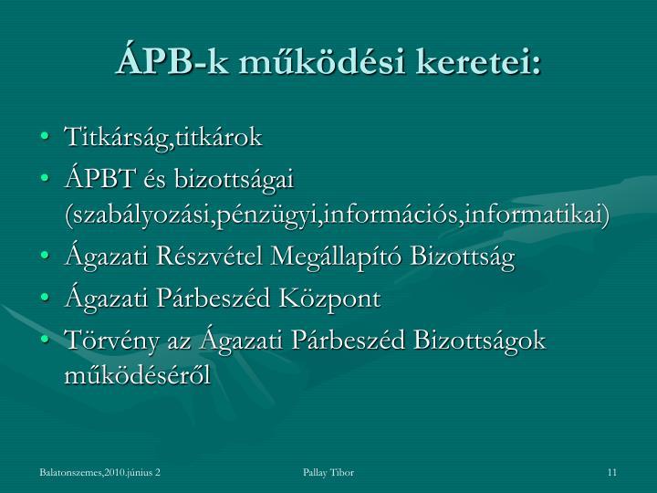 ÁPB-k működési keretei:
