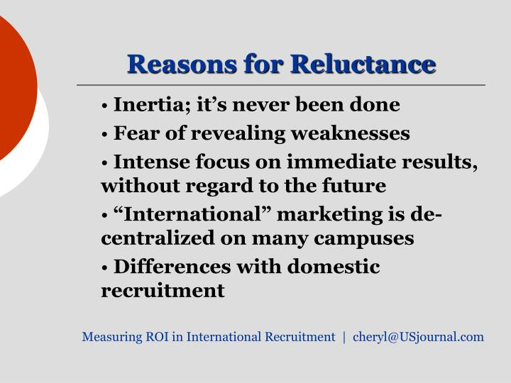Reasons for Reluctance