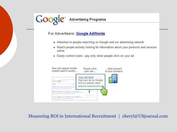 Measuring ROI in International Recruitment  |  cheryl@USjournal.com