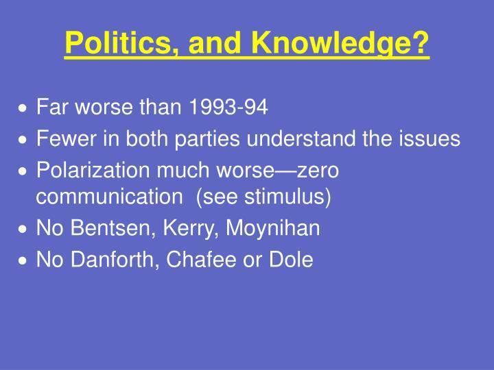 Politics, and Knowledge?