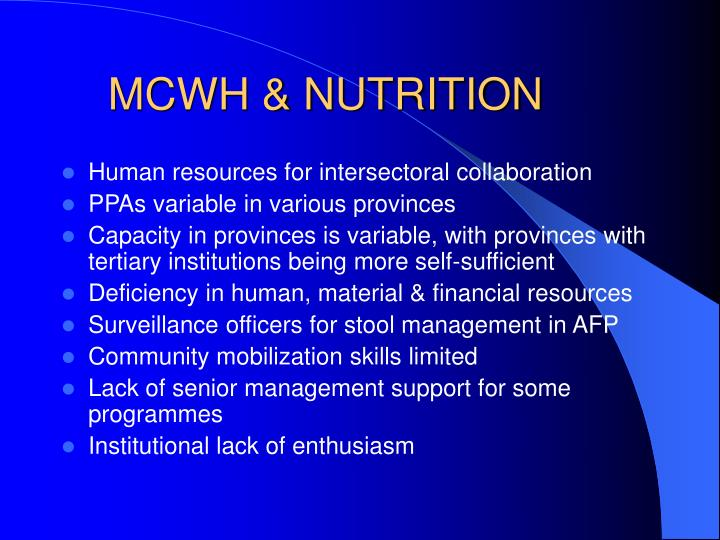 MCWH & NUTRITION
