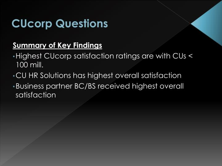 CUcorp Questions