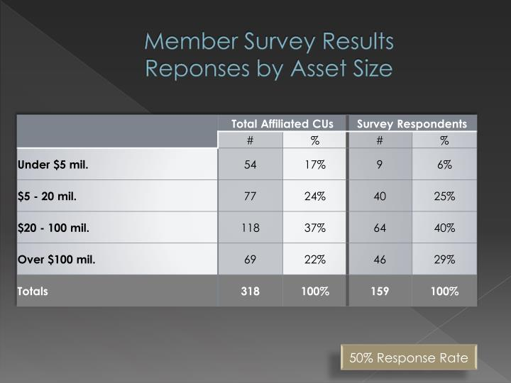 Member survey results reponses by asset size