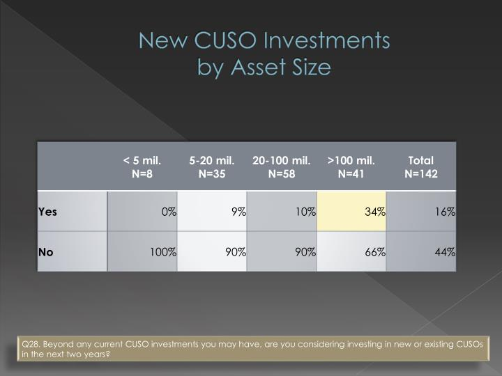 New CUSO Investments