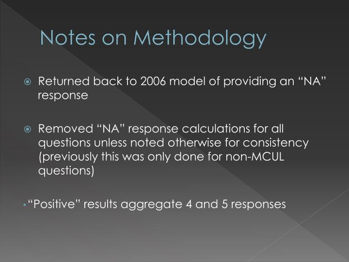 Notes on Methodology