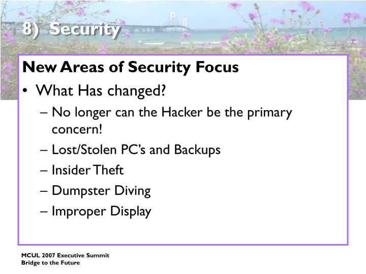 8)  Security