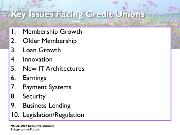Key issues facing credit unions