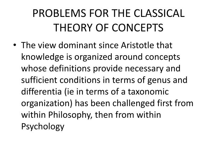 PROBLEMS FOR THE CLASSICAL THEORY OF CONCEPTS