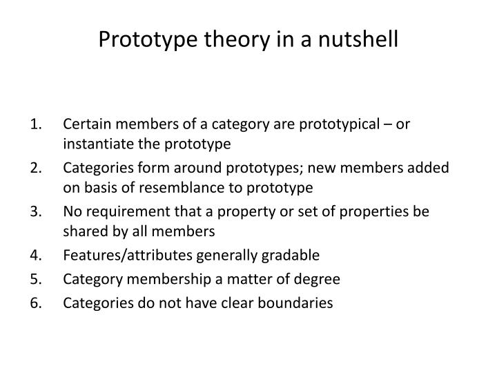 Prototype theory in a nutshell