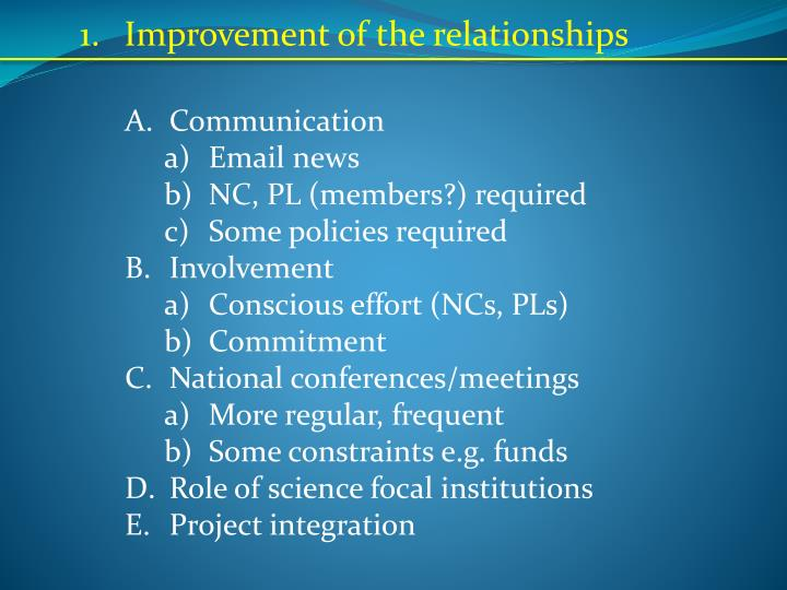 Improvement of the relationships