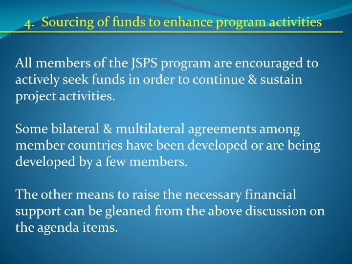 4.  Sourcing of funds to enhance program activities